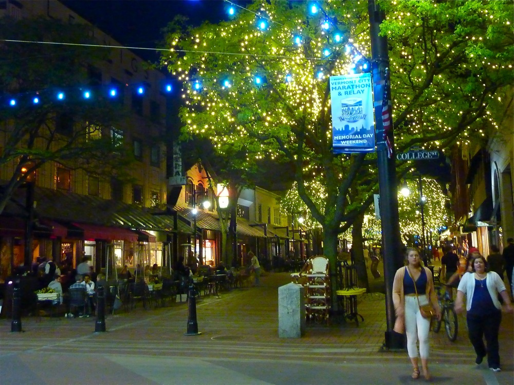 Lively Church Street Marketplace in Burlington, Vt., at night.