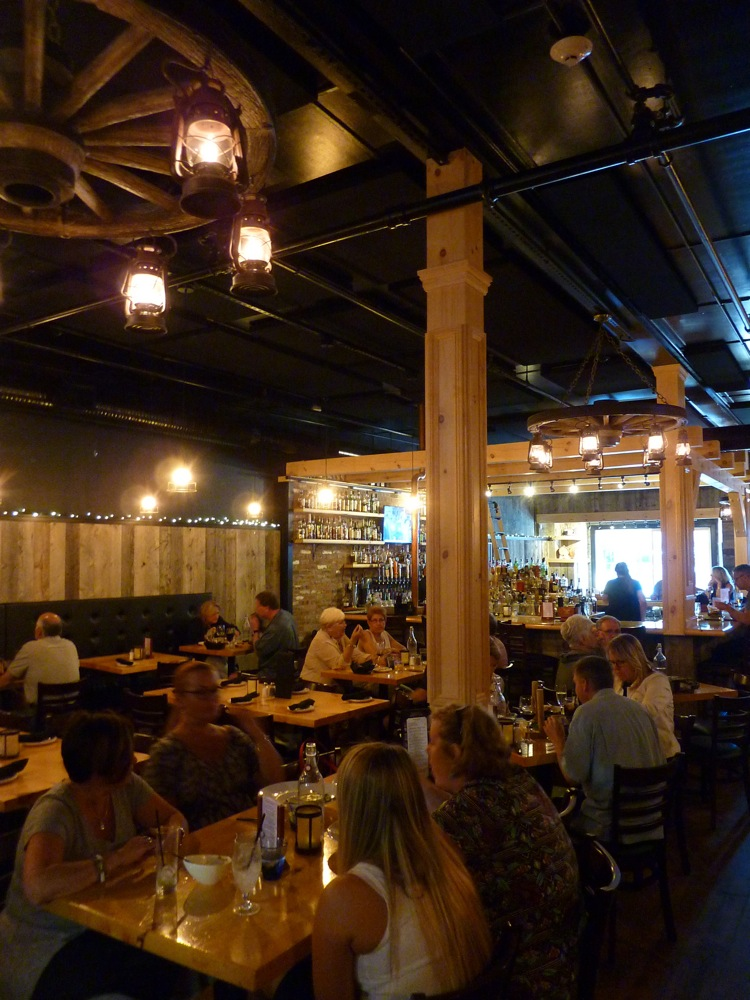 Dining room and bar at The Charred Oak Tavern in Middleboro, Mass.