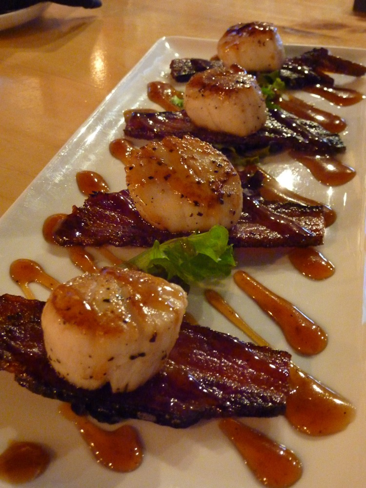 Bacon and scallop appetier infused with whiskey from The Charred Oak Tavern in Middleboro, Mass.