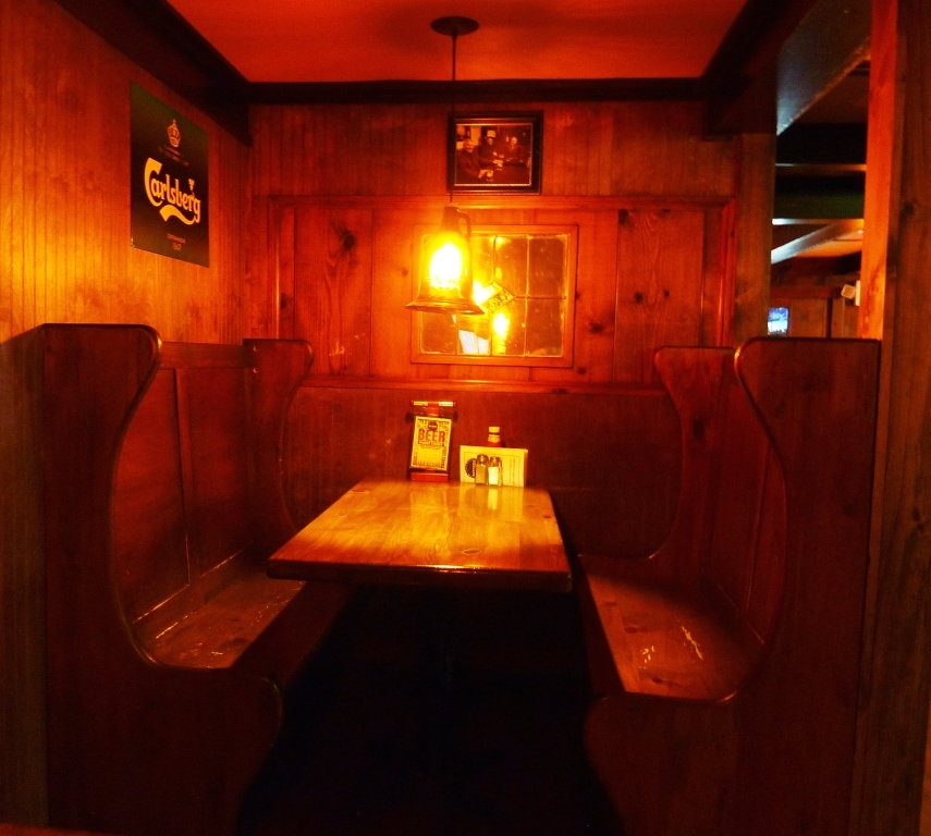 Dining in a snug at Father's Kitchen and Taphouse in East Sandwich, Mass.
