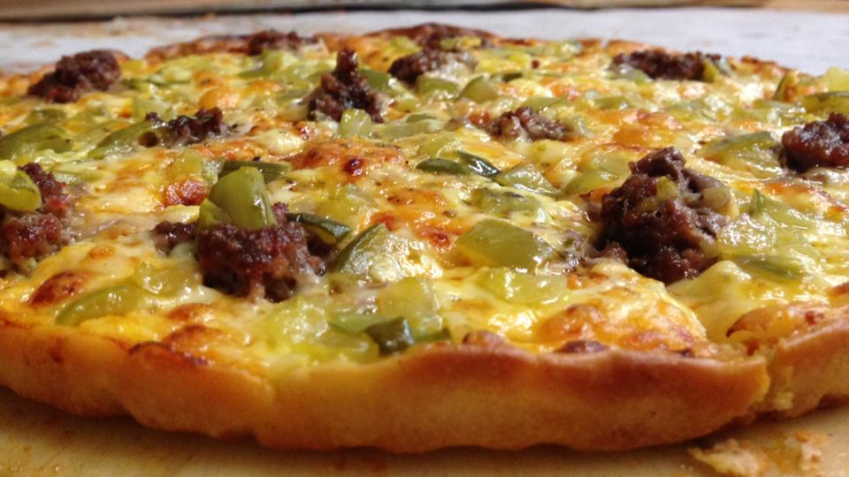 Spencer's Pizza, Abington MA -- cheeseburger pizza with ketchup, mustard, pickles and ground beef