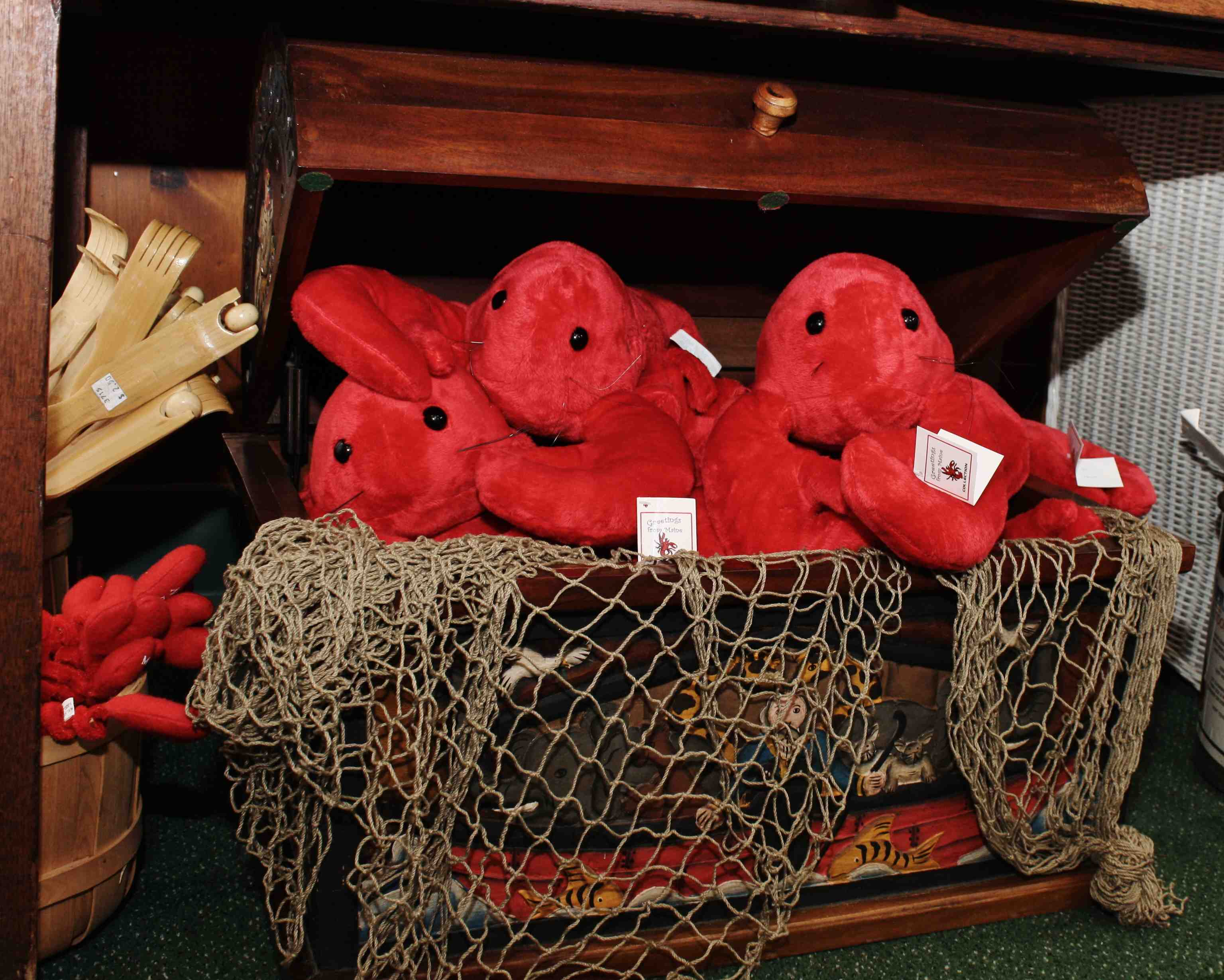 Plush lobster dolls for sale at Warren's Lobster House in Kittery, Maine