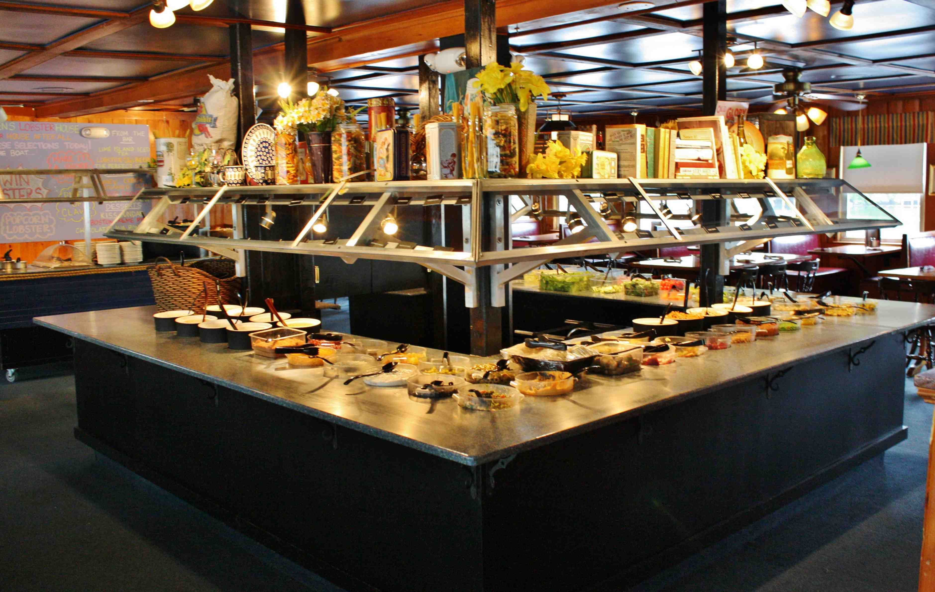 The huge salad bar at Warren's Lobster house in Kittery, Maine