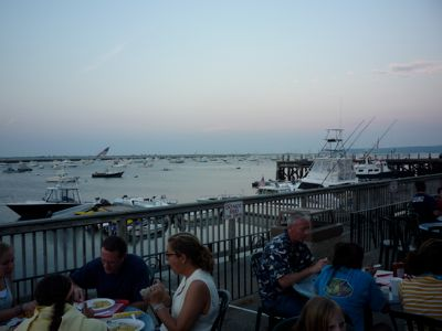 Photo of outdoor dining at Lobster Hut, Plymouth Harbor MA