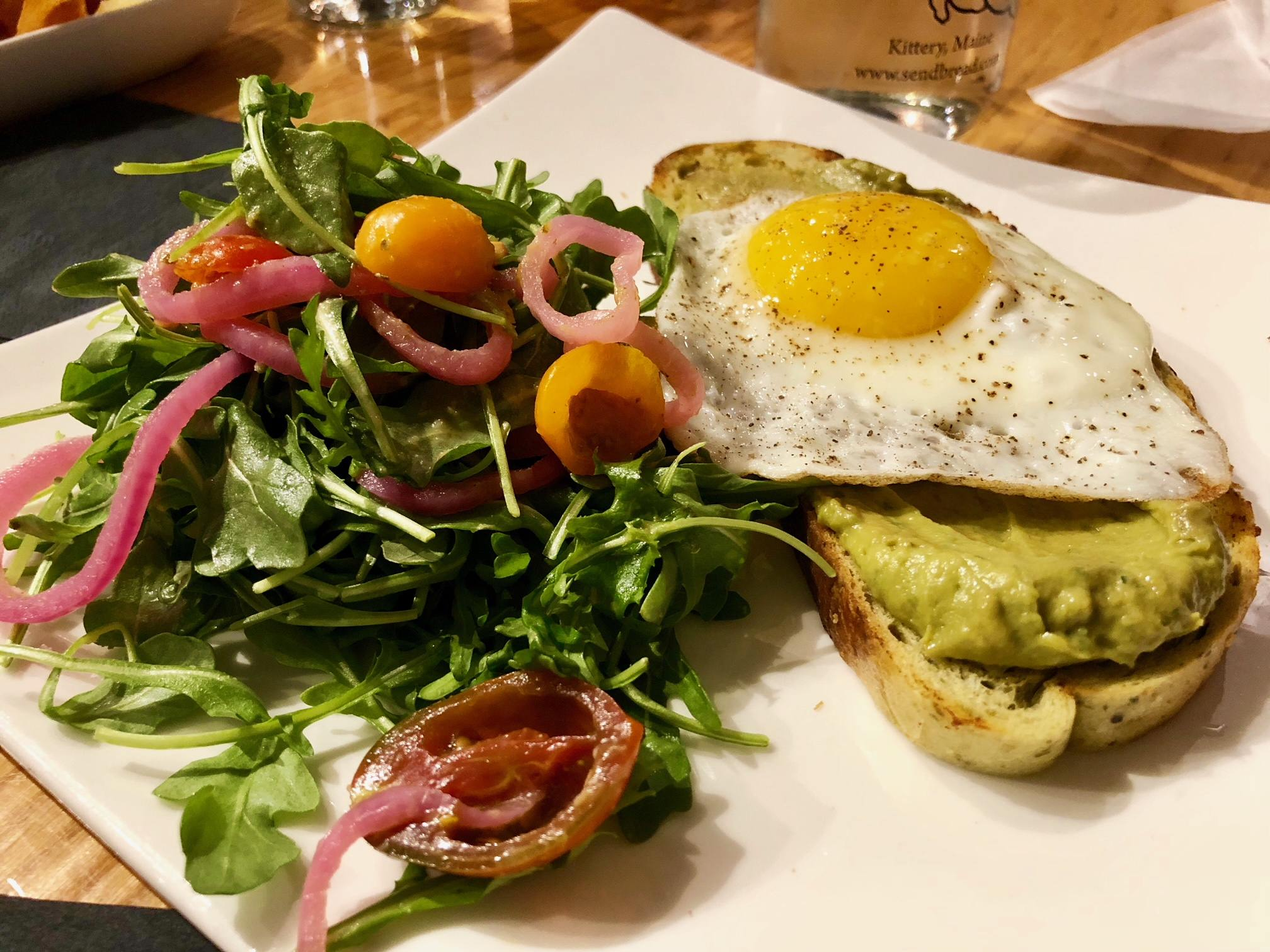 Avocado toast dish from When Pigs Fly in Kittery, Maine