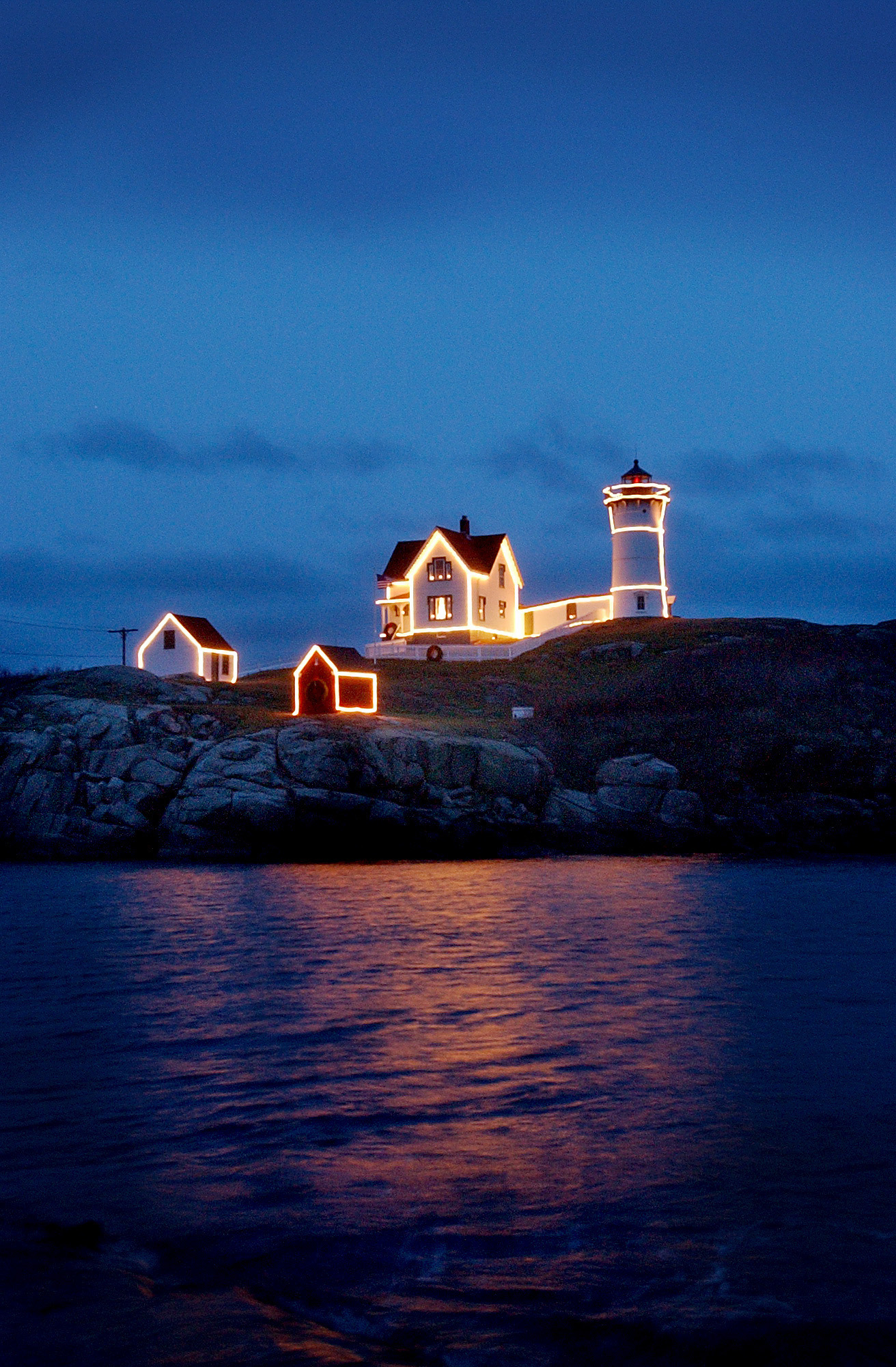 Lighting of the Nubble Lighthouse 2019 at Cape Neddick, Maine