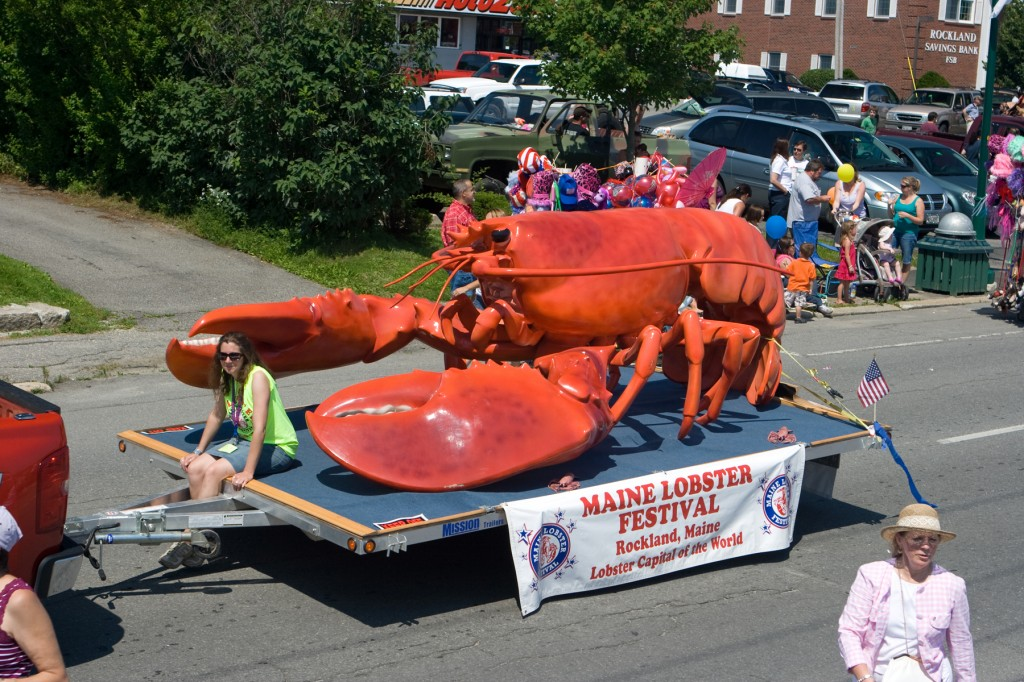 Maine Lobster Festival's parade in Rockland, Maine, includes this colorful lobster float. Credit: Maine Lobster Festival.