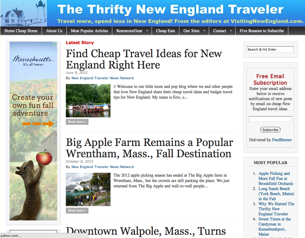 Subscribe to The Thrifty New England Traveler