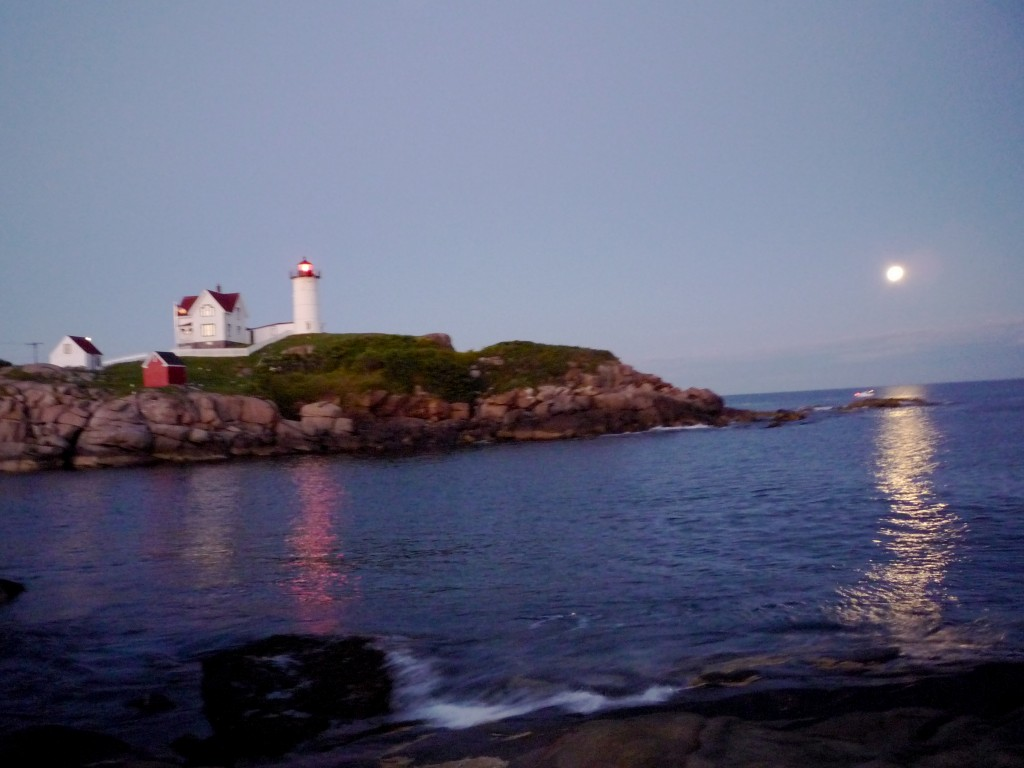 Image of Nubble Lighthouse in the early evening