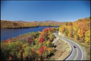 Maine fall foliage at Wyman Lake near Bingham