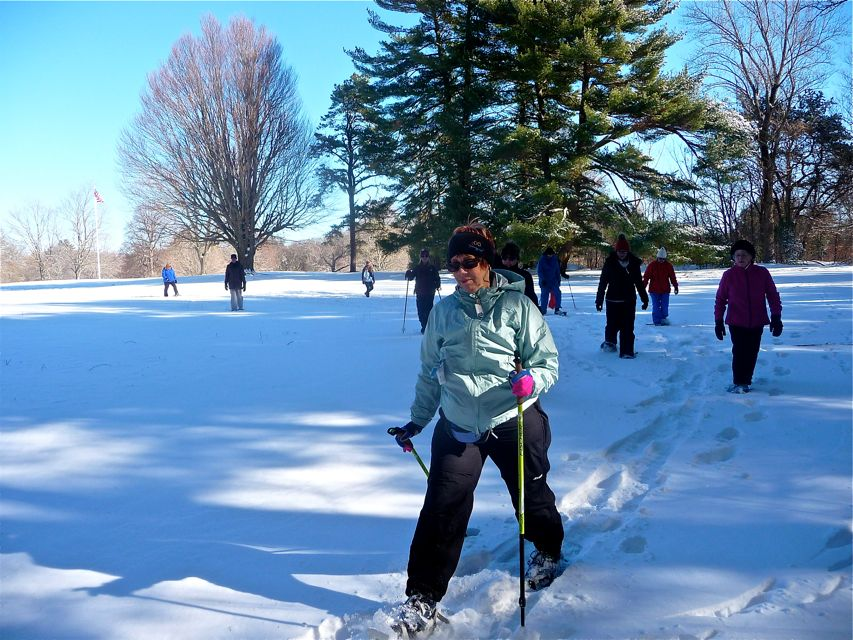 Winter snowshoeing at Bird Park, Walpole MA