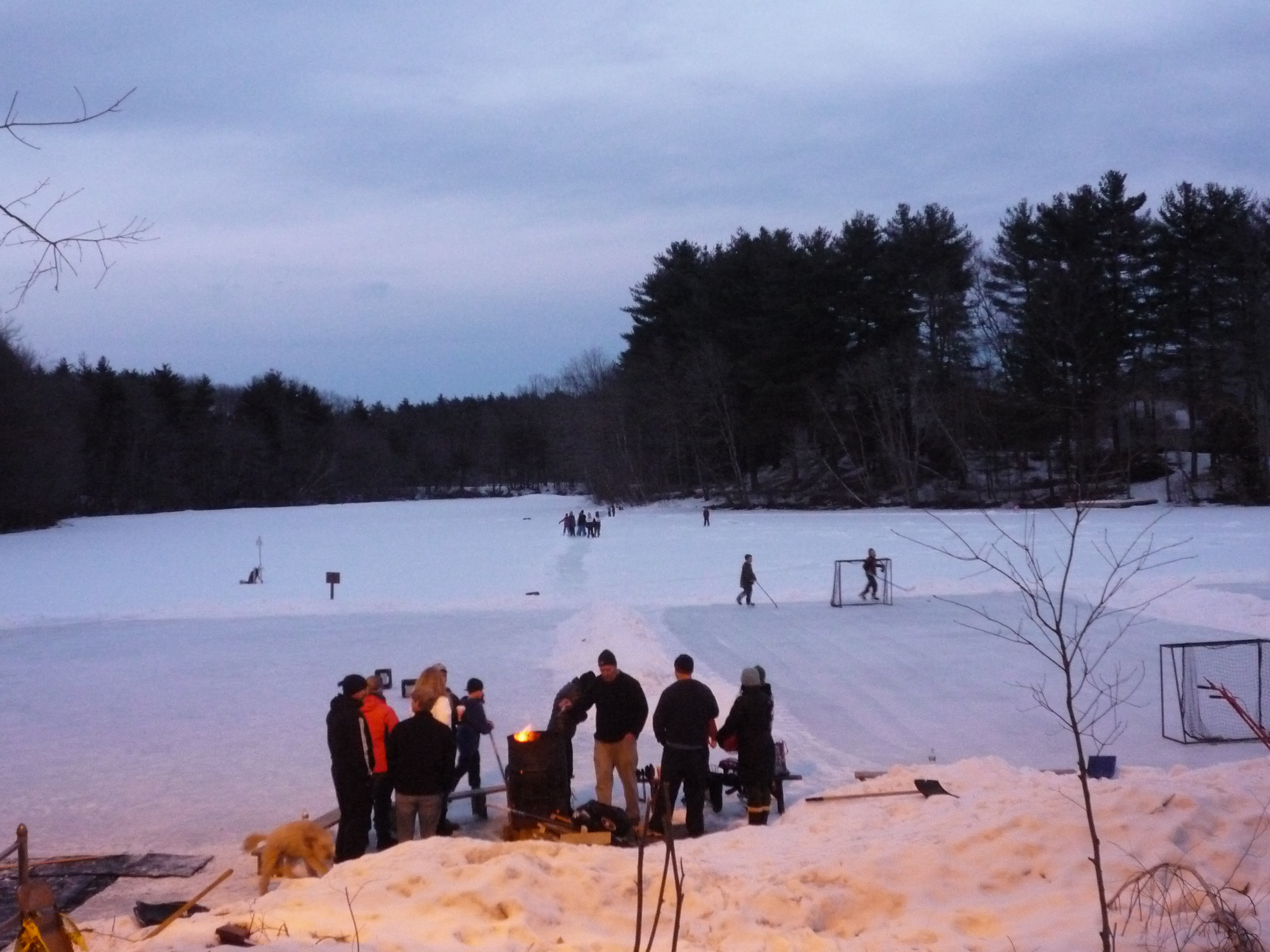Turner Pond, Walpole MA, Features Winter Outdoor Ice Skating