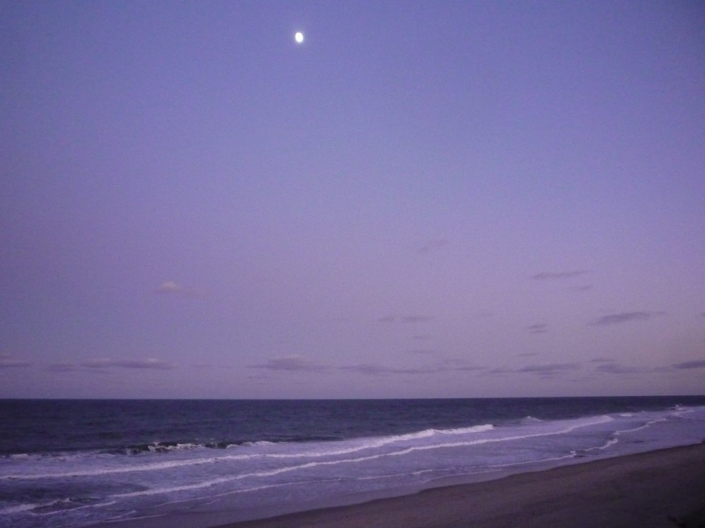 Photo of moon above Coast Guard Beach at Cape Cod National Seashore