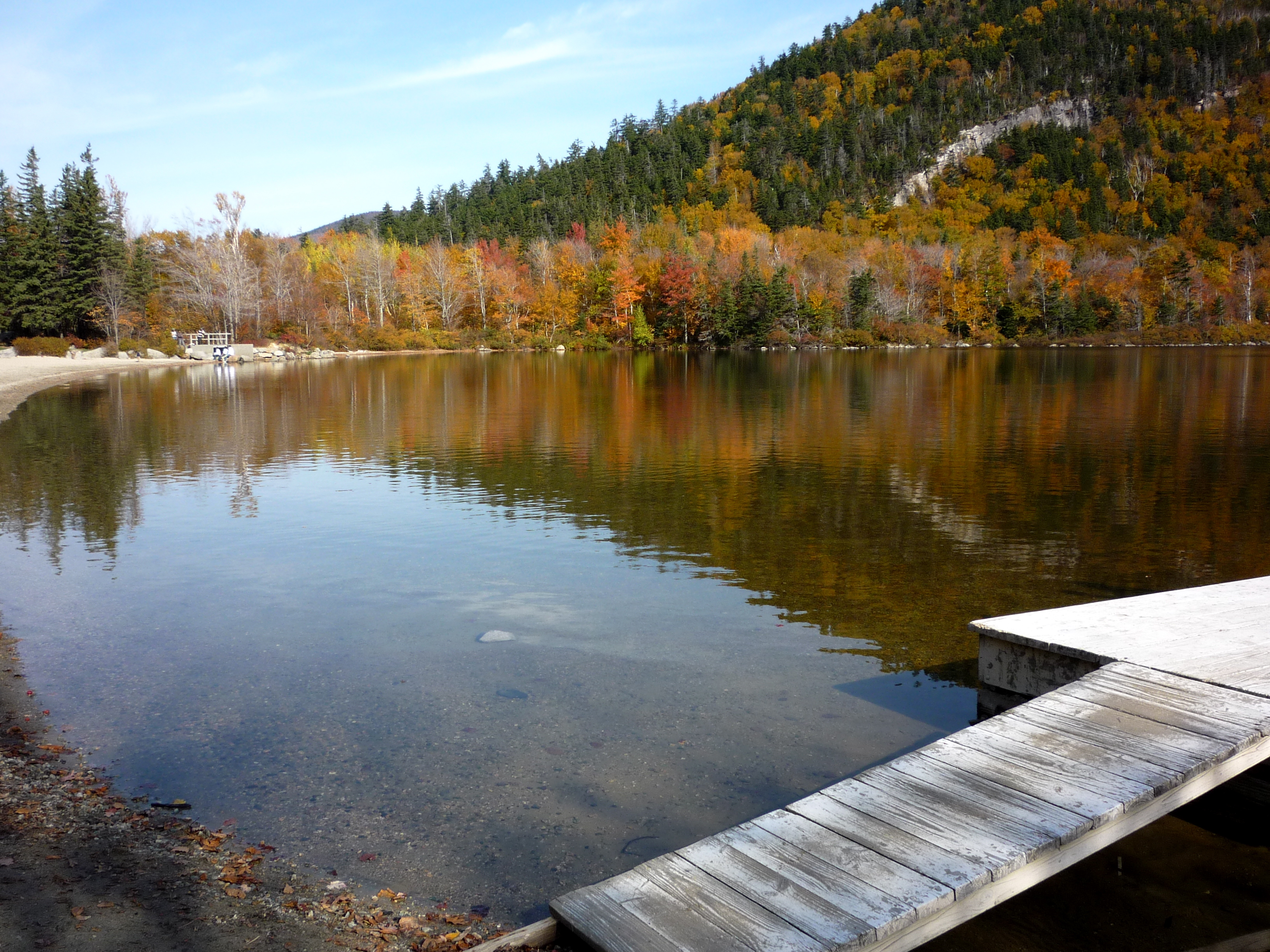 Visiting Idyllic Echo Lake Beach in the White Mountains of New Hampshire