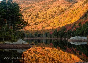 Peak fall foliage color by Beaver Pond, north of Woodstock, N.H., in the White Mountains of New Hampshire (photo by Jeff Folger)