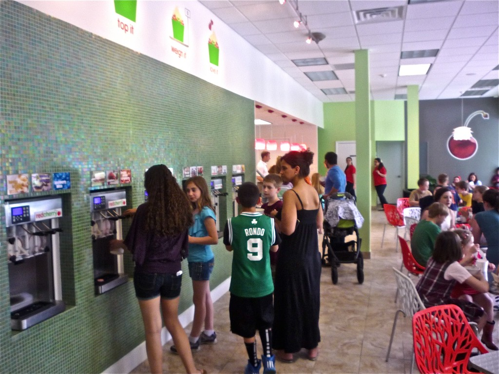 Image of frozen yogurt machines at Red Cherry, Walpole MA