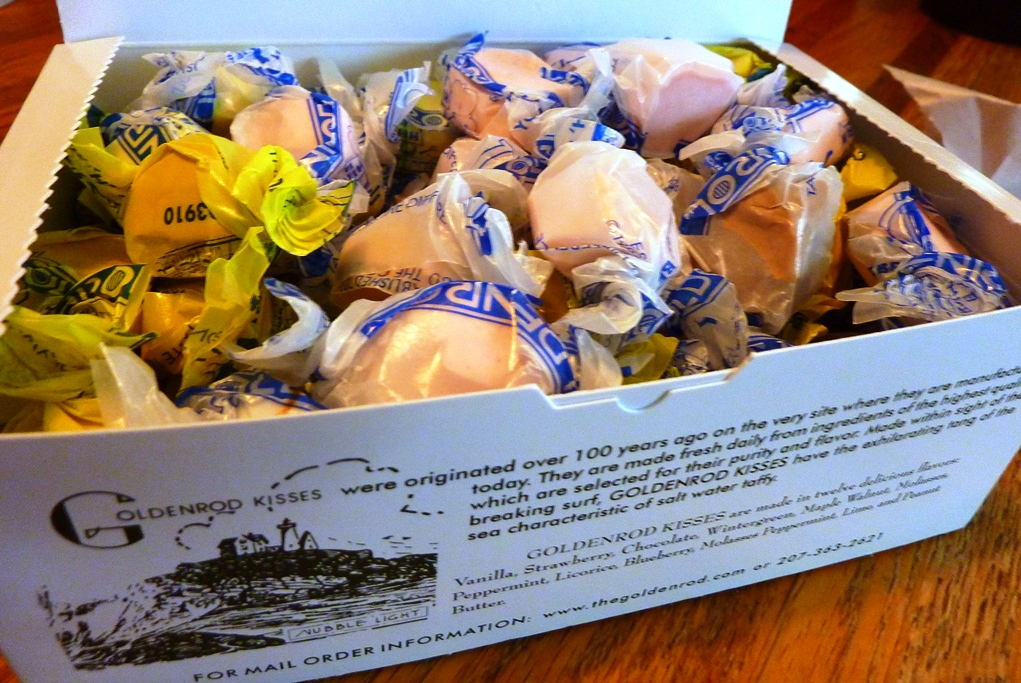 Box of salt water taffy from The Goldenrod in York Beach, Maine.