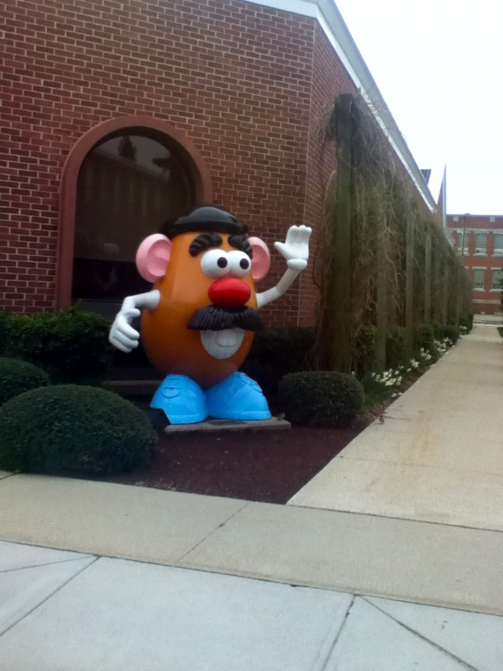 The Mr. Potato Head statue at the Hasbro toy company, Pawtucket RI