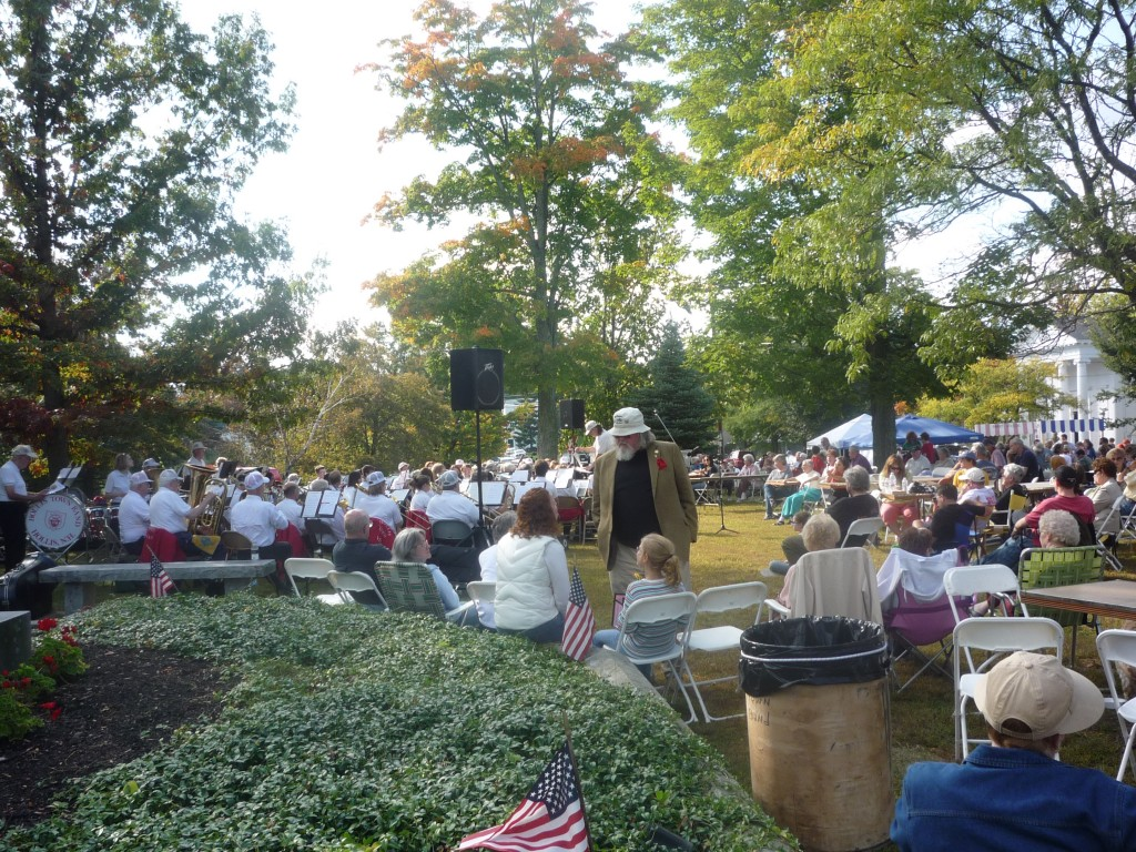 The band plays, the residents and visitors congregate for some autumn fun at the Hollis Fall Apple Festival (photo by Eric)