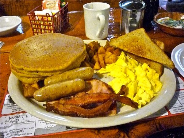 Parker's Maple Barn Special pancakes (pumpkin pictured here), eggs, home fries, toast, bacon, sausage and ham. (photo by Eric)