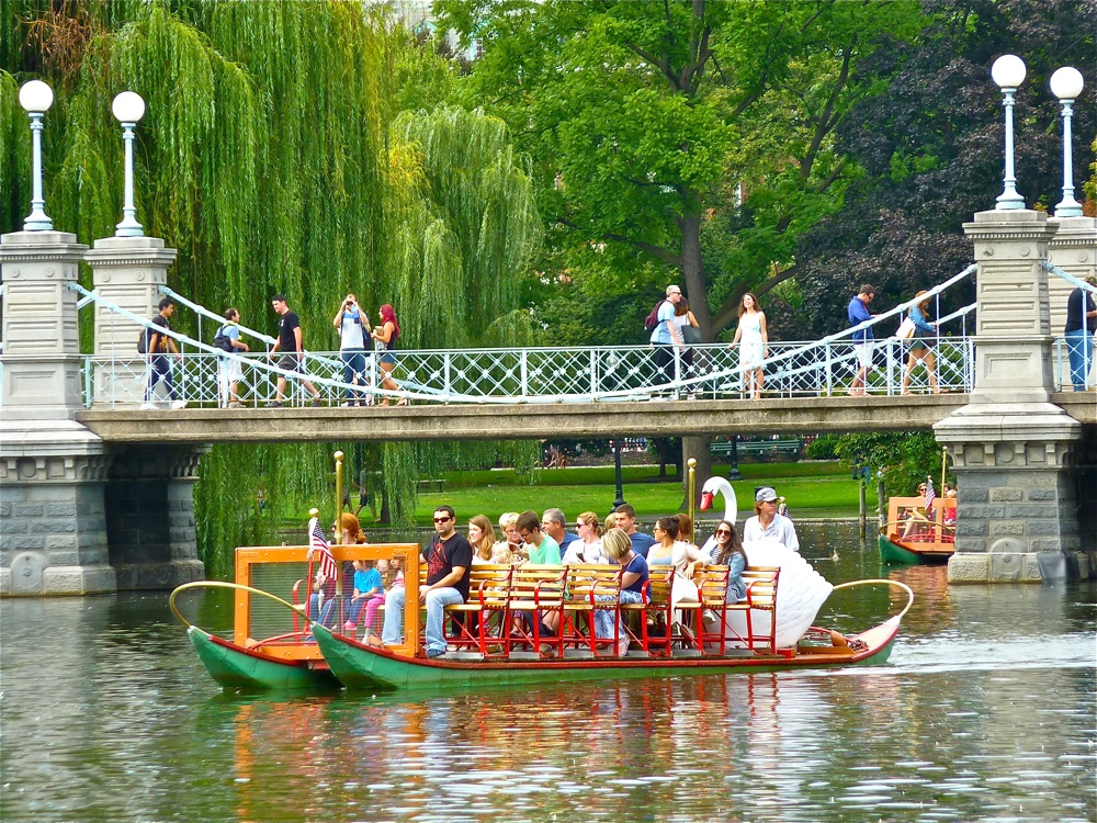 Swan Boat ride at the Boston Public Garden, Boston MA
