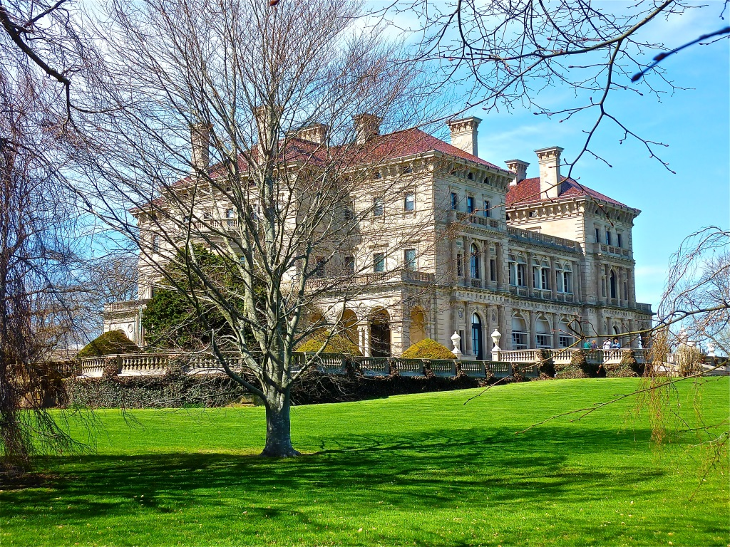 The Breakers mansion seen from The Cliff Walk in Newport, R.I..