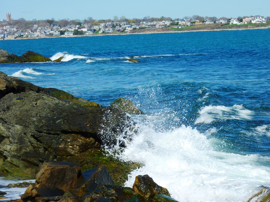 Waves crashing at The Cliff Walk in Newport, Rhode Island.