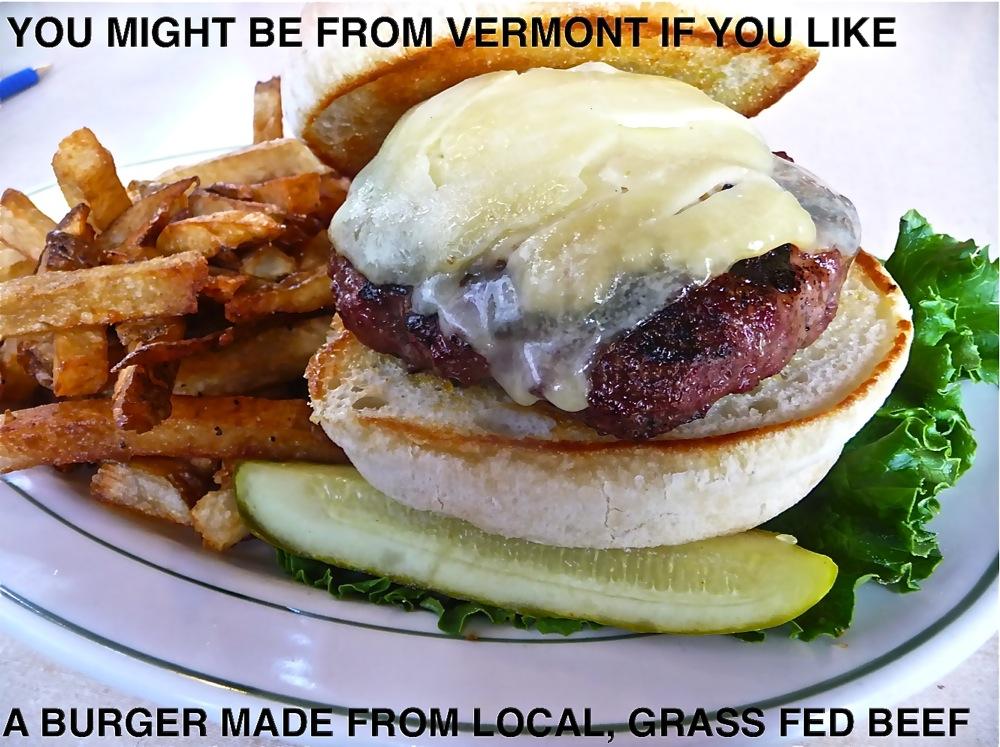 Grass fed burger from Chelsea Royal Diner in Brattleboro Vernont