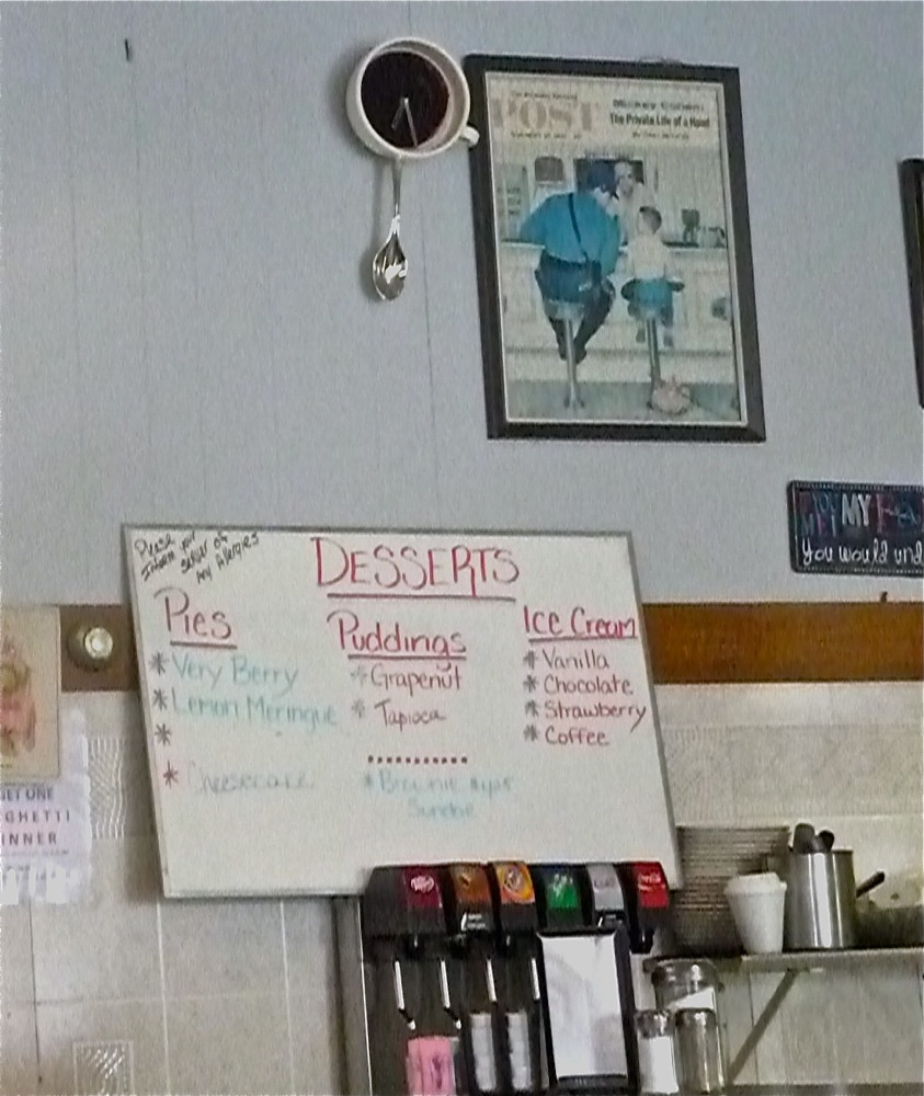 Dessert menu, sodas choices and the famous Norman Rockwell scene (photo by Eric)