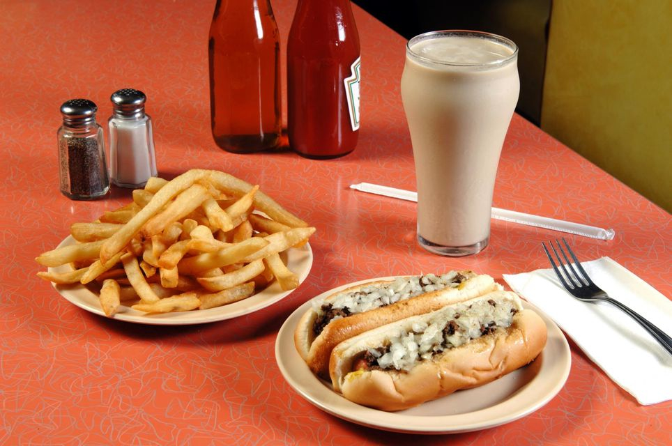 Olneyville New York System wieners with fries and coffee milk, Providence RI