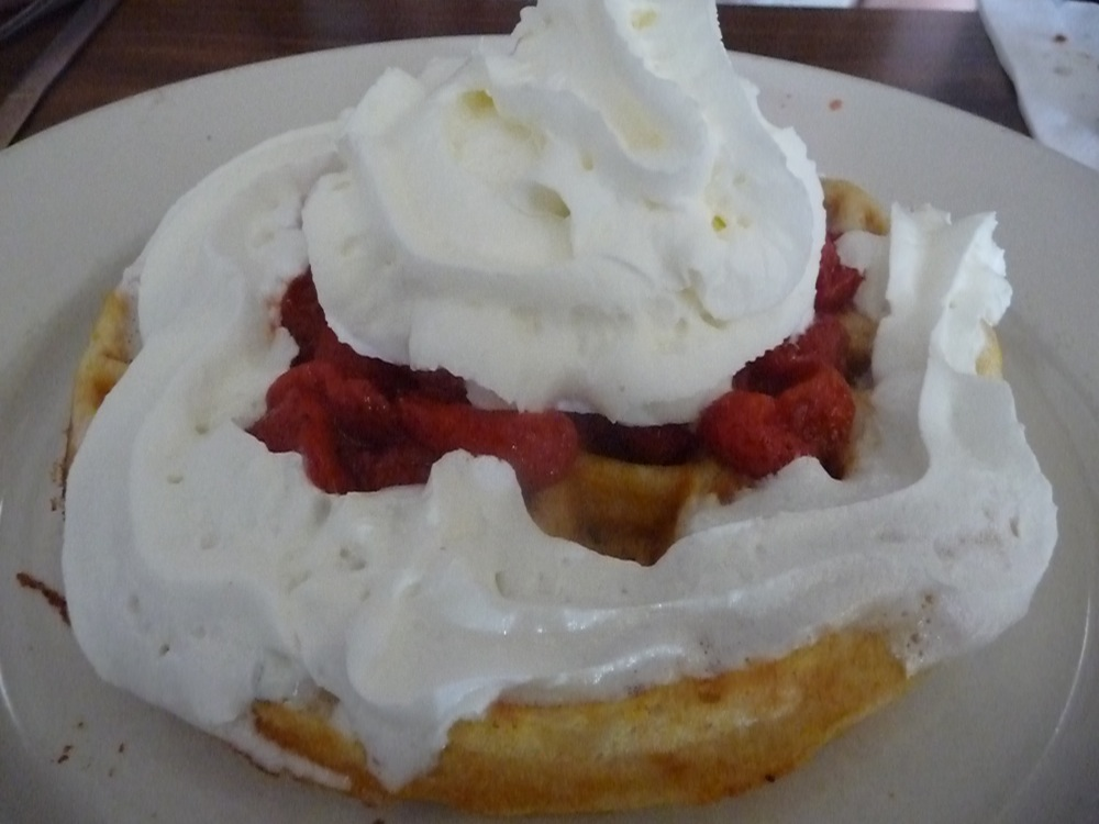 Waffles with strawberries and whip cream at Joe's Diner in Lee MA (photo by Eric)