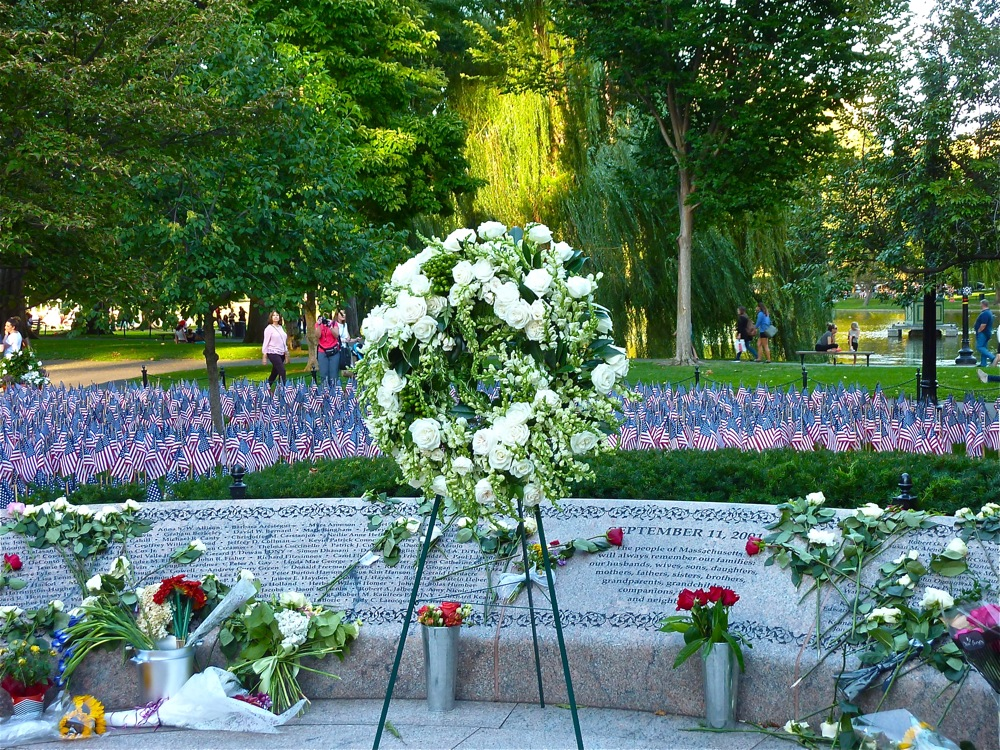 9-11 display the Boston Public Garden in Boston MA
