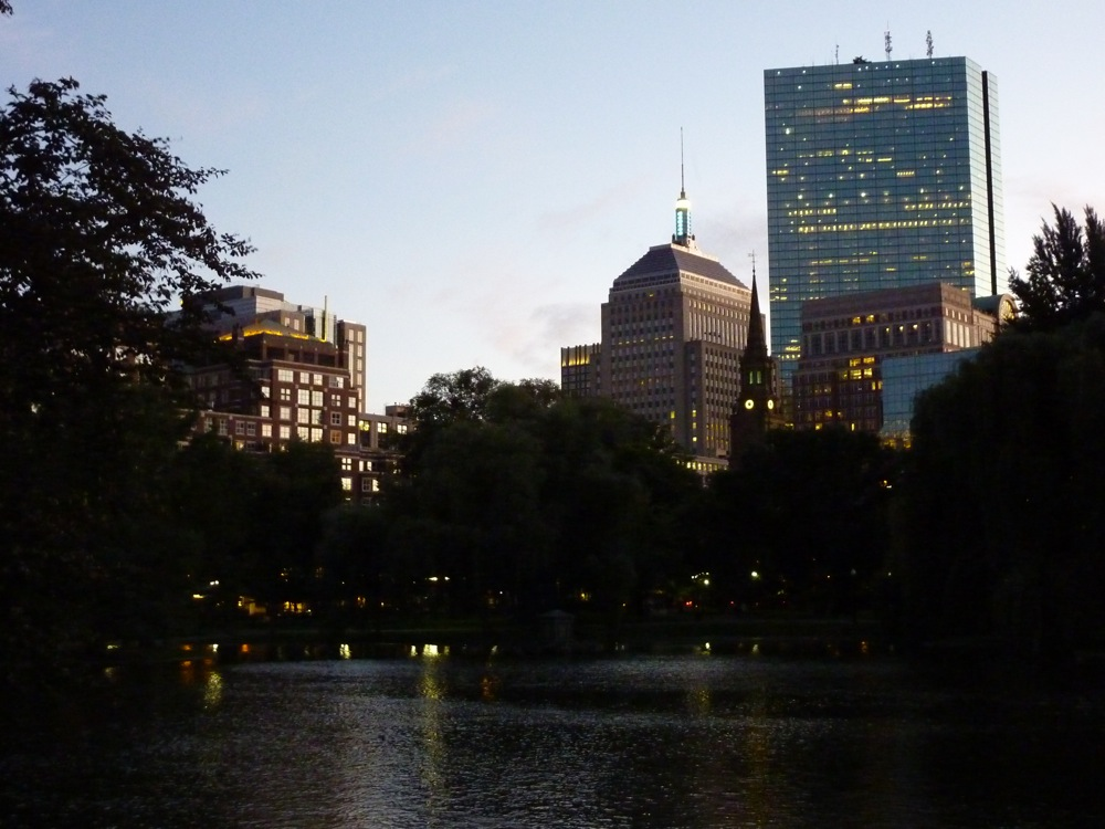 View from the Boston Public Garden in Boston MA at twilight