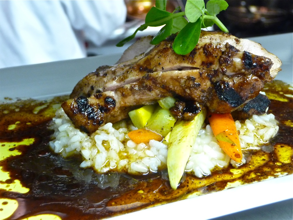Grilled balsamic chicken with herbs, honey balsamic, roast baby carrots, basil rice, evoo from Sapore Vero in Walpole, Mass.