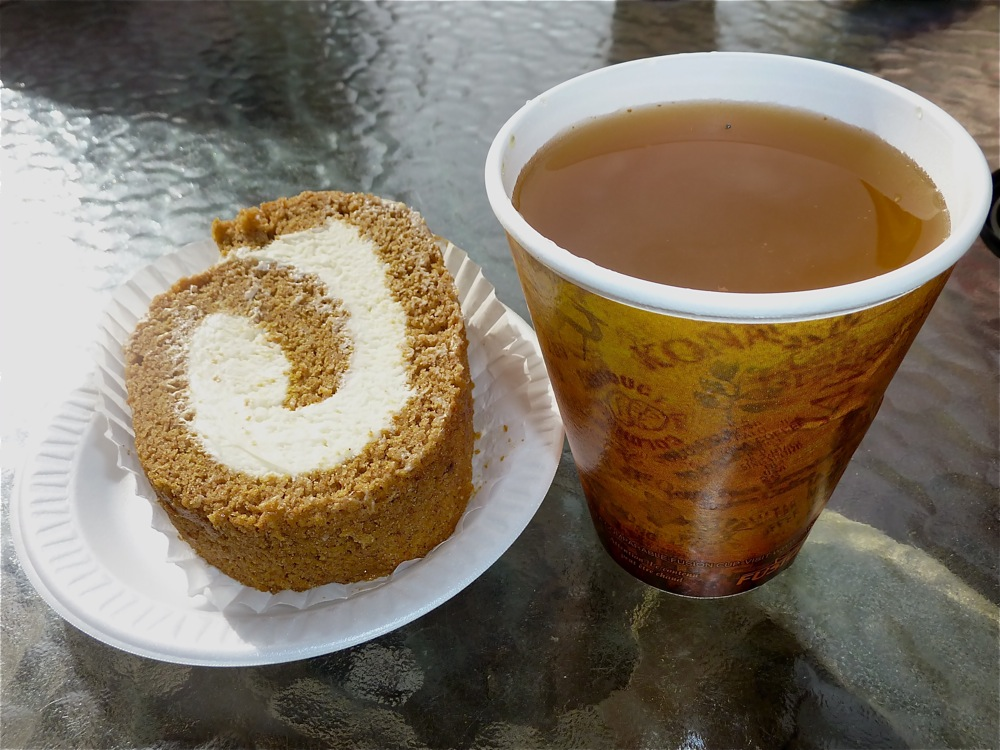 Pumpkin mousse roll and hot apple cider from Phantom Farms in Cumberland, RI.