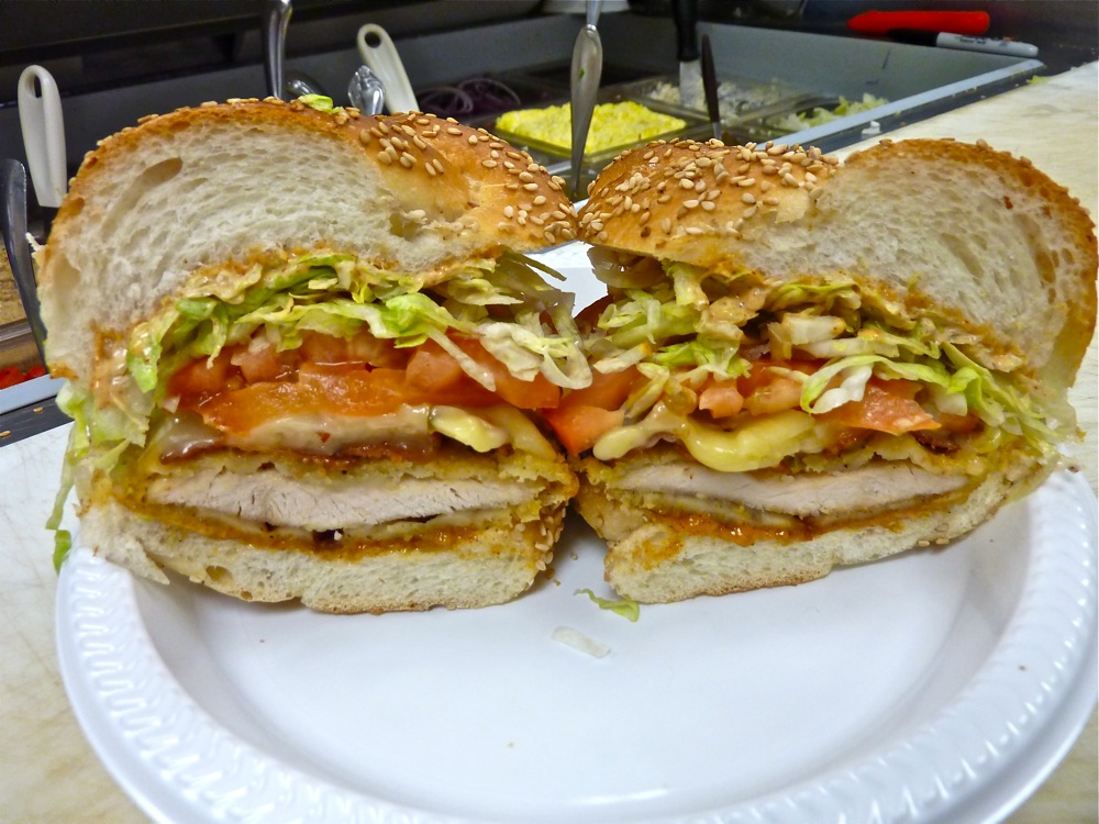 "The ""Blackjack"" chicken cutlet sandwich from the Good Food Store in Walpole, MA."
