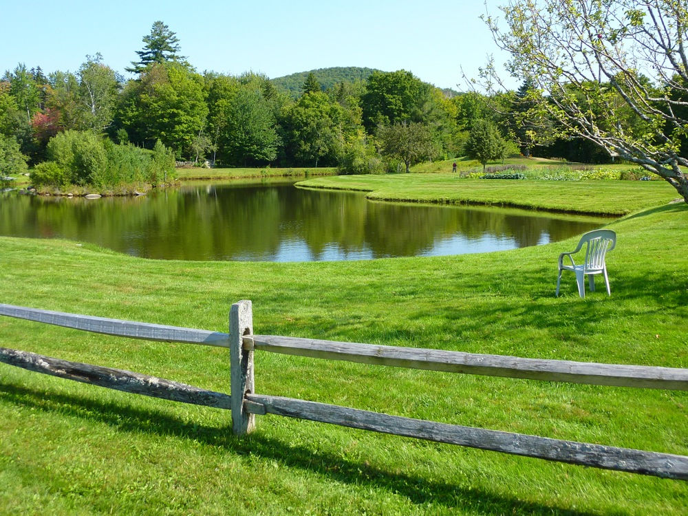 Scenic pond at Weston Priory in the hills of Weston Vermont