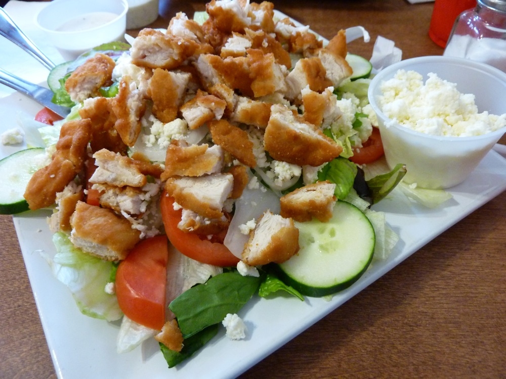Greek salad with chicken tenders from the Buckland House of Pizza in Buckland, Massachusetts.
