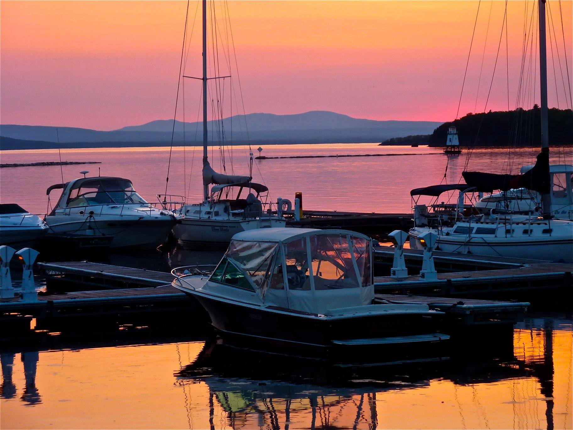 Sunset in Burlington, Vermont at Lake Champlain,