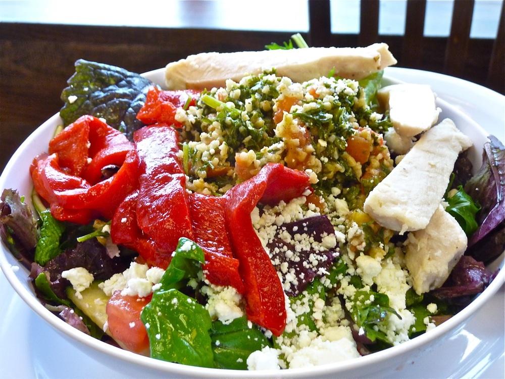 Mediterranean Salad from Red Cherry Cafe in Walpole, Massachusetts.