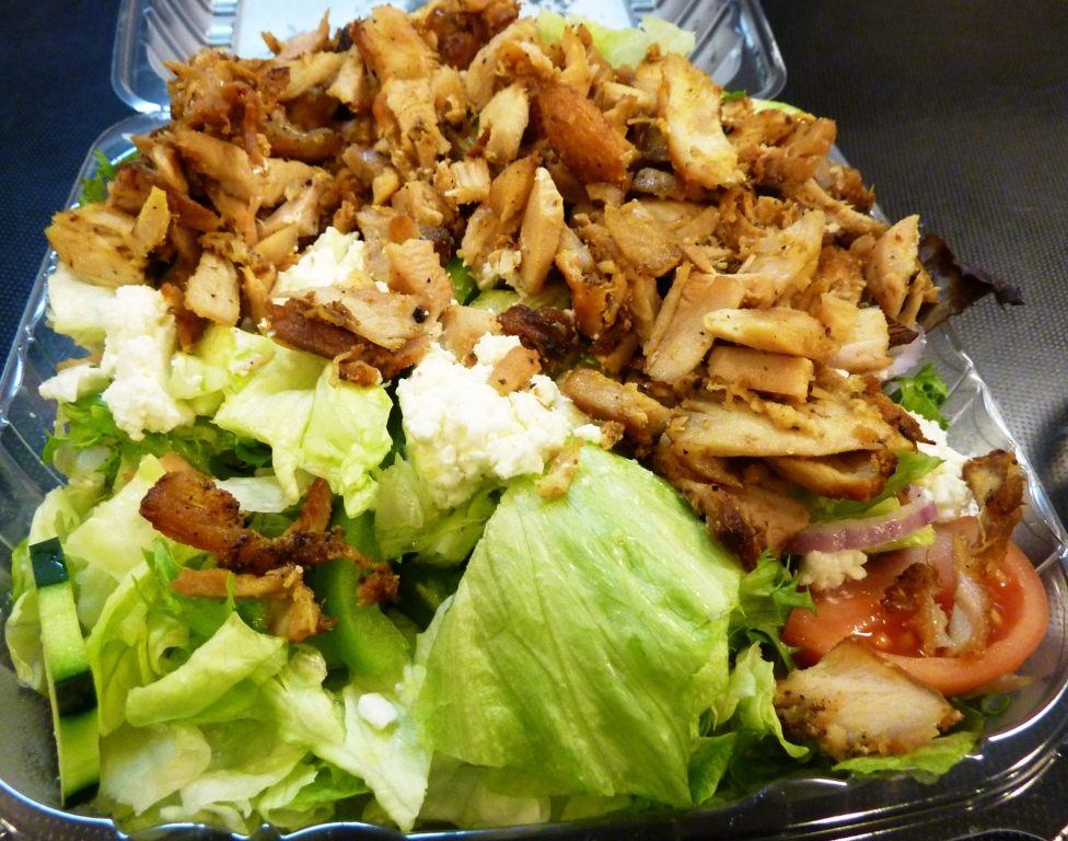 Greek salad with grilled chicken from The Feisty Greek in Norwood, Mass.