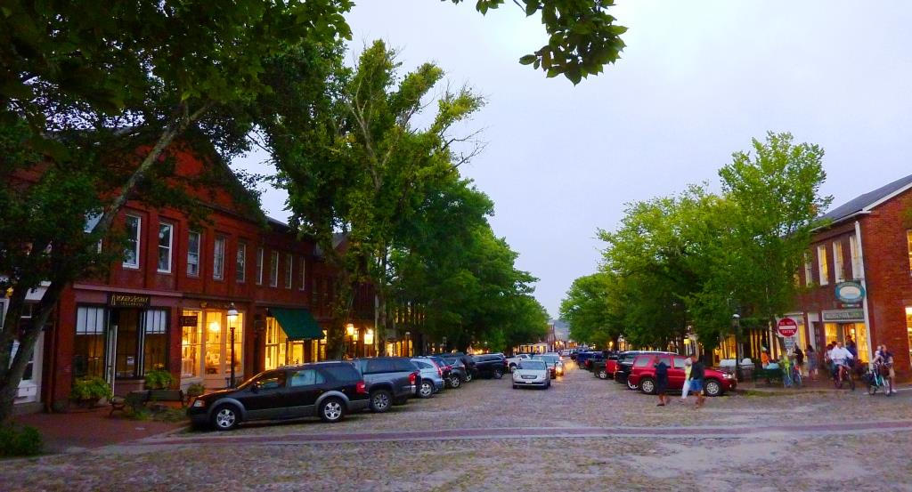 Twilight on a cobblestone street at Nantucket., Massachusetts.