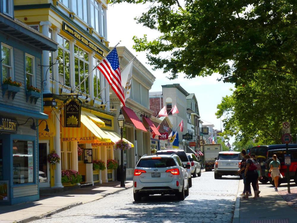 Thames Street in Newport, Rhode Island.