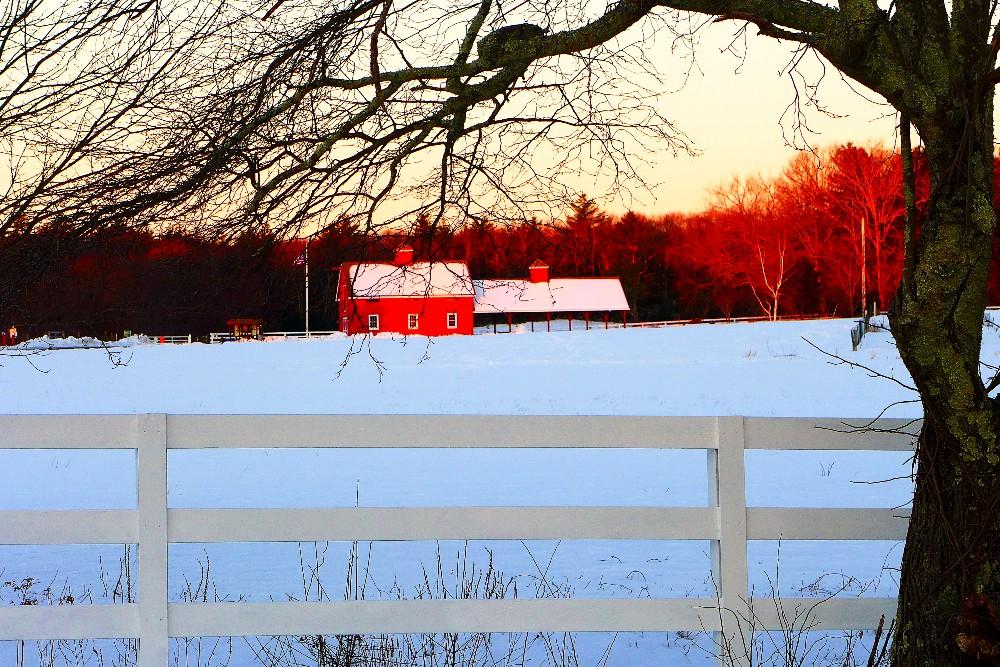 Winter scene at Adams Farm in Walpole, Mass.