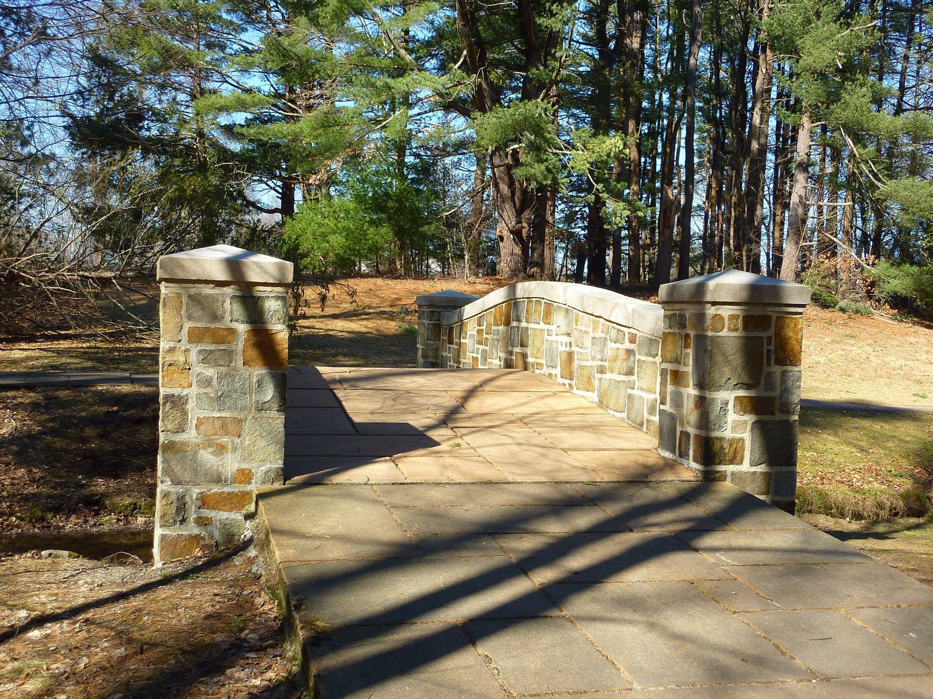 Walking bridge at Bird Park in East Walpole, MA.