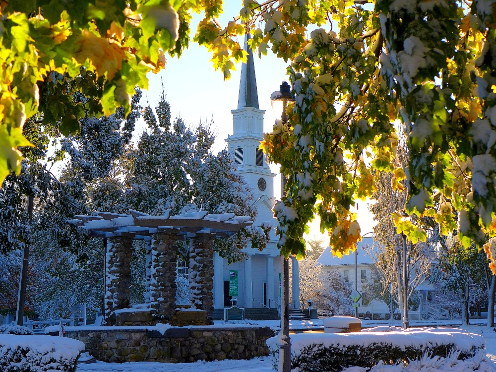 Winter by the United Church in Walpole., Mass.