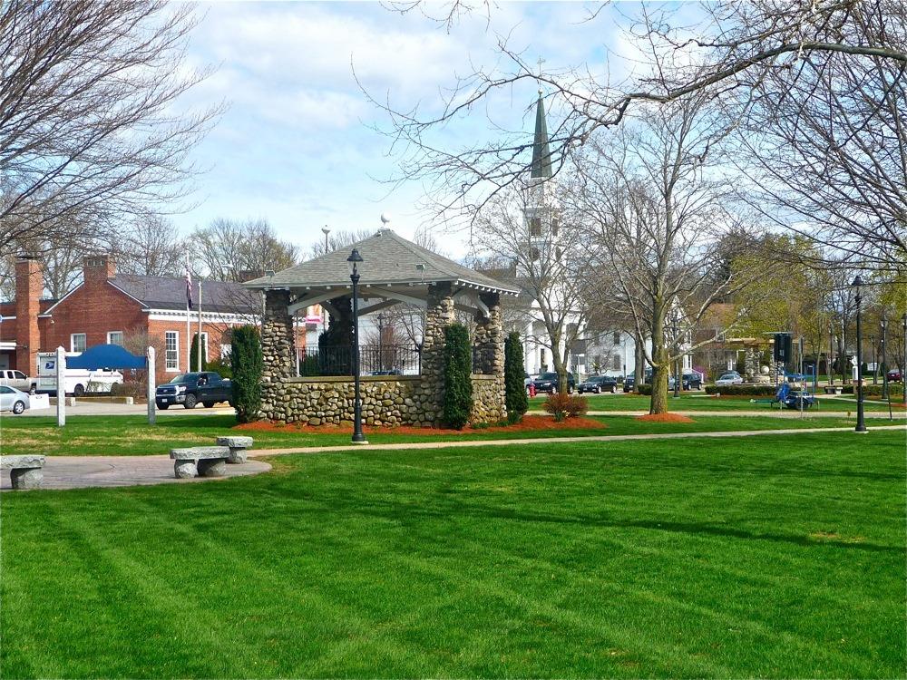Downtown Walpole town green,, Walpole, Massachusetts.