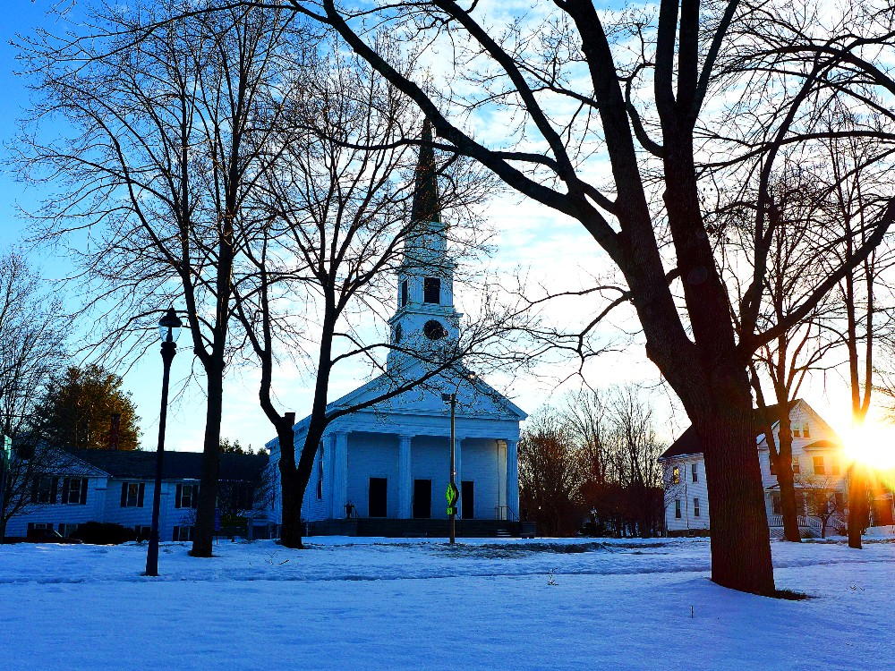 Classic New England scene on Common St. in Walpole, Massachusetts.