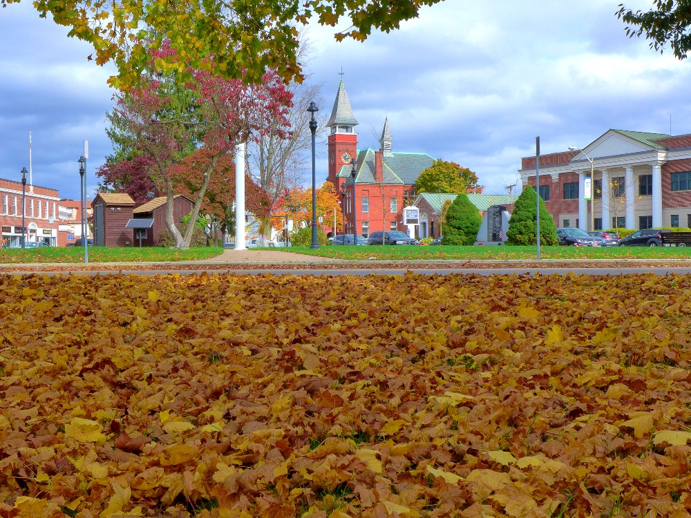 Shuffling through the leaves in downtown Walpole, Mass.