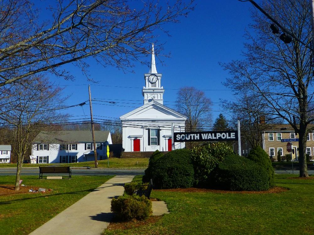 Town green and South Walpole United Methodist Church in Walpole, Mass.
